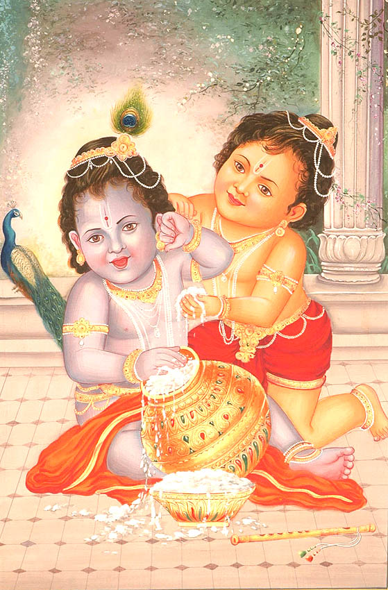 butter thief krishna with brother balarama wj97